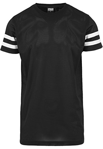 URBAN CLASSICS - Stripe Mesh Tee (black/white), Gr. M (Stripe Black Shirt)
