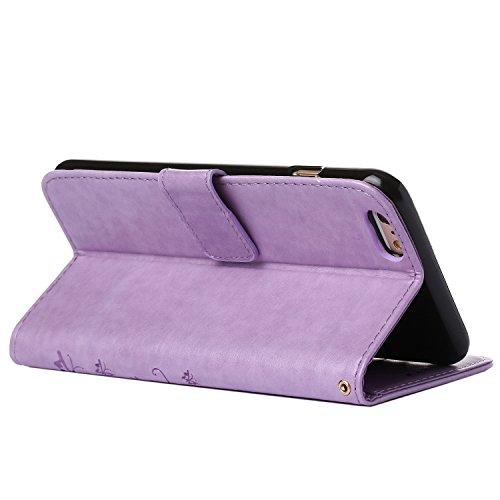 "MOONCASE iPhone 6S Hülle Blume Premium PU Leder Schutzhülle für iPhone 6 / 6S 4.7"" Bookstyle Tasche Schale TPU Case mit Standfunktion Grau Helles Lila"