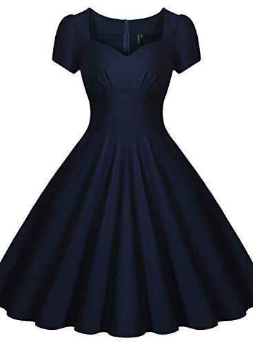 Missmay Damen Knielang V-Ausschnitt Business Abenkleid Festlich Partykleid Blau Gr.36-46 (42 (L)., Blau) - 2