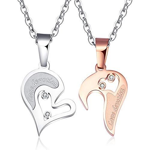 NJHUBZ Herzförmige Paar Anhänger Halskette Schlüsselbein Kette Pullover Kette Mode Unisex Schmuck, 01