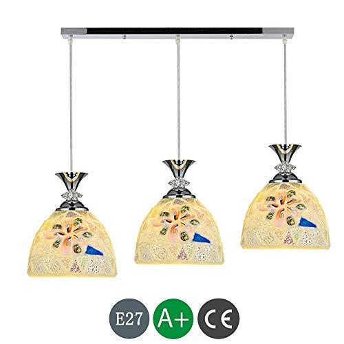 Jsmhh LED Tiffany Mittelmeer Pendelleuchte Höhenverstellbare Hängelampe Vintage Lampe Esstischlampe E27 Farbe Glas Leuchte Wohnzimmer Schlafzimmer Küche Lampe Deckenbeleuchtung