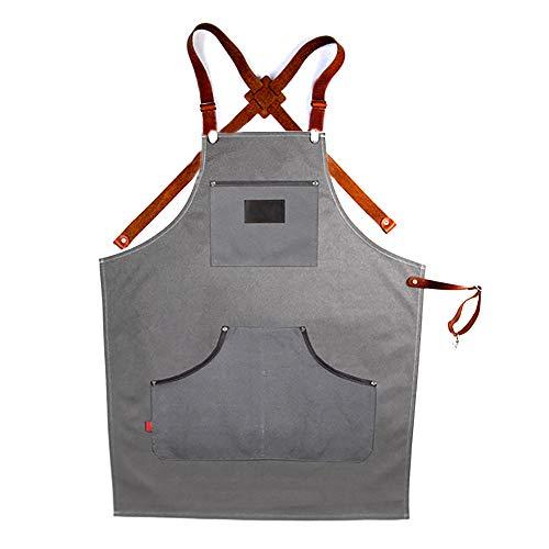 YMYJZ Grembiule da Uomo per Barbecue Grembiule con Cintura Incrociata Tessuto di Cotone Rivestito e Pelle con Tasche Multiple