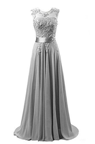 Kmformals Damen Chiffon Langes Party Ballkleid Abendkleid 38 Silber