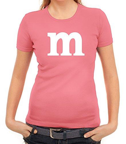 Karneval Fasching Junggesellenabschied Damen T-Shirt Gruppen & Paar Kostüm mit M Aufdruck, Größe: M,rosa