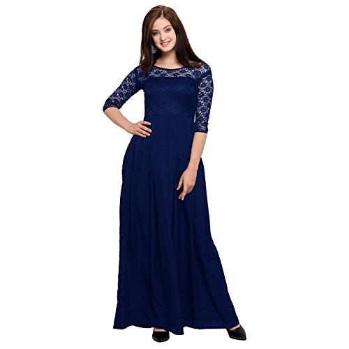 Fashion2wear Women's Crepe Western Gown (Blue_Large)