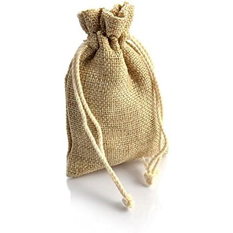Set de 24 bolsas sacos de yute, bolsa, bolsa de tela, color blanco y beige