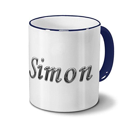 Tasse mit Namen Simon - Motiv Chrom-Schriftzug - Namenstasse, Kaffeebecher, Mug, Becher, Kaffeetasse - Farbe Blau