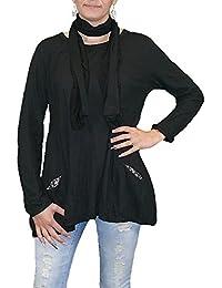 S&LU Damen Shirt mit passendem Schal M - 3XL 38 - 46