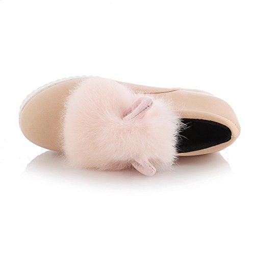 AllhqFashion Damen Hoher Absatz Gemischte Farbe Weiches Material Rund Zehe Pumps Schuhe Pink