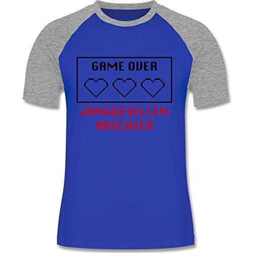 JGA Junggesellenabschied - Game Over Herzen - zweifarbiges Baseballshirt  für Männer Royalblau/Grau meliert