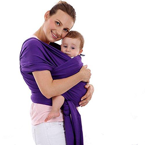 MissChild Portador de Bebé Cómodo Fular Portabebés Elástico para hombre y mujer Morado