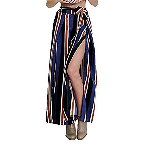 Junshan Hose Lang Damen Hosenrock Weite Bein Hose Streifen Frauen Elegante Seite Schlitz (Schlitz Hose Gerade)