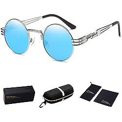 Dollger John Lennon Punk Steampunk gafas de sol marco del ronda y metal(Lente Azul+marco plateado)