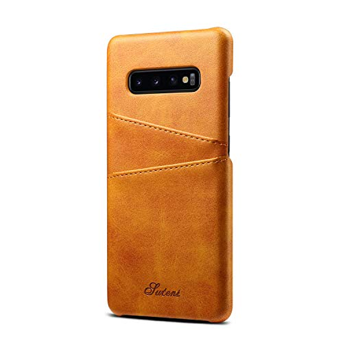 TACOO Schutzhülle für Galaxy S10 Plus S10+, aus Leder, superdünn, weiches Polyurethan, 2 Kreditkartenfächer, Ultra dünn, Khaki - Ny Giants Tragen