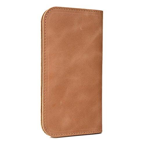 Étui portefeuille en cuir véritable pour Kyocera Hydro vie pour Brun - peau Brun - peau