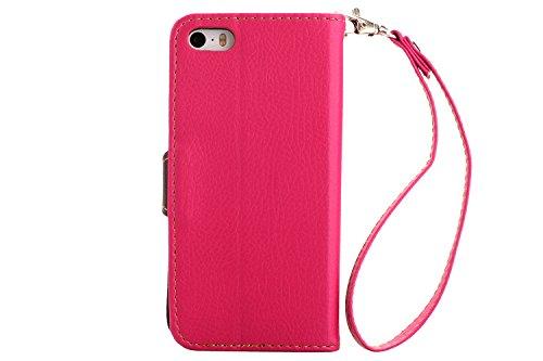 newlan Feuille Étui à clapet pour iPhone 5/5S avec fonction Chaise iPhone se 55S Coque Housse Etui Portefeuille pour iPhone 5S