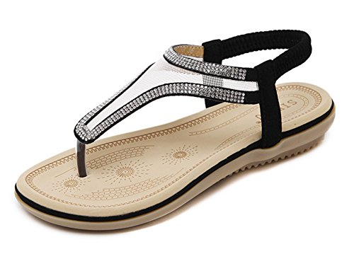 Tomsent Damen Sommer Bohemia Flache Sandalen Netzgarn Strass Strandschuhe Mädchen Zehentrenner Peep Toe Shoes Sandalen Flip Flop Schwarz EU 40 (Schwarz Leder-flip-flops Patent)
