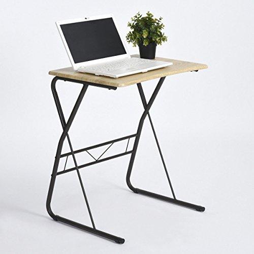 Aingoo computer supporto da scrivania con top in legno e struttura in metallo per piccoli spazi, beige