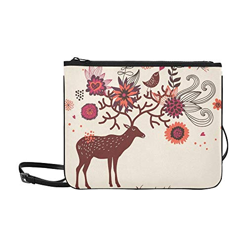 WYYWCY C Artoon Deer Flowers Benutzerdefinierte hochwertige Nylon-dünne Clutch-Tasche Umhängetasche mit Umhängetasche (C Artoon)