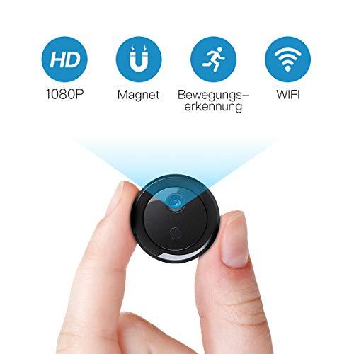 Mini Kamera, KinCam WLAN HD 1080P Überwachungskamera Tragebare Sicherheitskamera Kleine Mikrofon Nanny IP Cam Kabellose mit Akku Bewegungsmelder Infrarot Nachtsicht für IOS/Android.