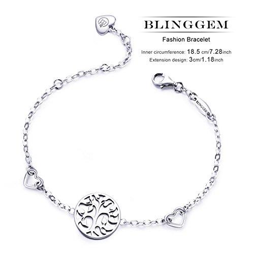BlingGem Damen Baum des Lebens Lebensbaum Armband aus Weißgold vergoldet 925 Sterling Silver Silber Armkette Einstellbar