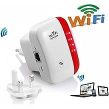 Extensor de red WiFi 300Mbps Mini Wireless Extensor de Rango Inalámbrico AP Amplificador Enrutador Repetidor Booster Wireless-N 2.4GHz Universal EU Enchufe (N300,WPS)