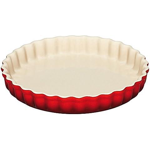 Le Creuset - Molde redondo para tarta de cerámica de gres, 26 cm, color cereza