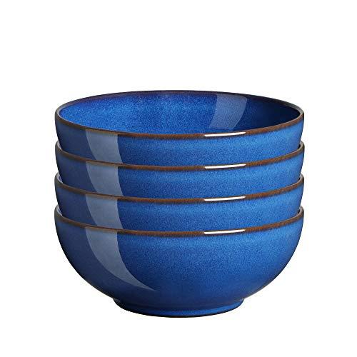Denby IMP-005B/4 Imperial Blue Coupe Müslischalen-Set, Einheitsgröße, Kobaltblau, 4 Stück Coupe Cereal Bowl