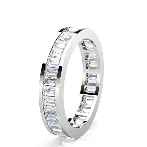 DND–Baguette Form/Cut Diamant 18ct Weißgold 1.81Ct (Karat) Full Eternity Hochzeit Ring für Frauen (Diamond 4-karat-ehering-sets)