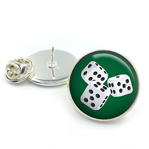 Versilbert Würfel Poker Revers Krawatte Pin Badge| Würfel| Poker| Karten| Würfel-Set| Brettspiel| benutzerdefinierte Würfelspiele| Geschenk für ihn| Geschenk für Männer| (Geschenk-karte Benutzerdefinierte)