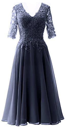 MACloth Elegant V Neck Mother of the Bride Dress Lace Formal Party Evening Gown Dark Navy