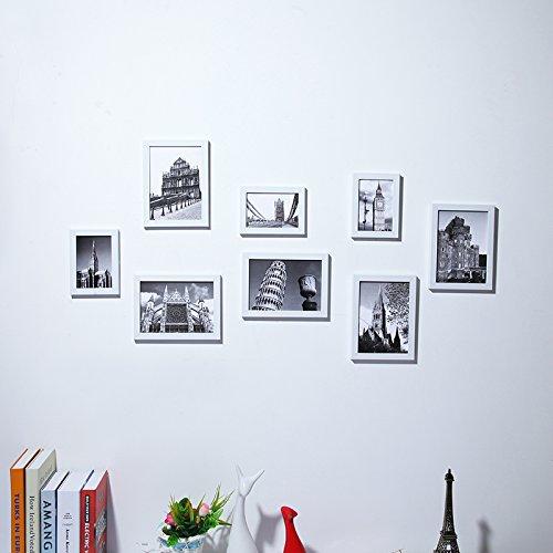 Preisvergleich Produktbild XKSQDP - Bilderrahmen, 8 Box kreative Fotowand Rahmen an der Wand hängende Wand Bilderrahmen - Schlafzimmer Kinder Foto Wandrahmen Wandrahmen kleine Gesichter der Wall-box, Weiß