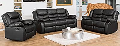 Windermere Luxury Leather Recliner Sofa Suite - Different Configurations and 3 Colours Available (Black, 3+2+1 Seat Sofa Suite)