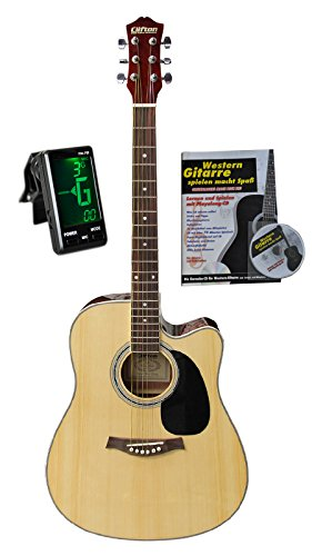 Western-Gitarre 41 mit Tasche, Tuner, Buch und Karaoke-CD