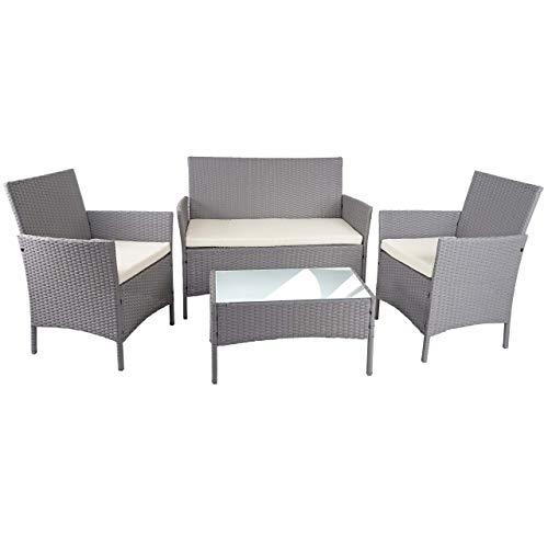 Mendler Poly-Rattan Garten-Garnitur HWC-D82, Sitzgruppe Lounge-Garnitur ~ grau mit Kissen Creme