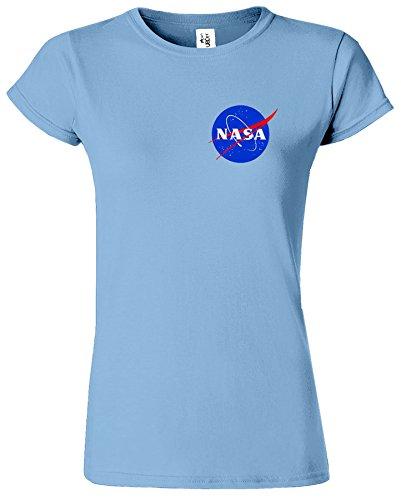 Nasa National Space Packet Pocket America Dames T Top T-Shirt Bleu Clair