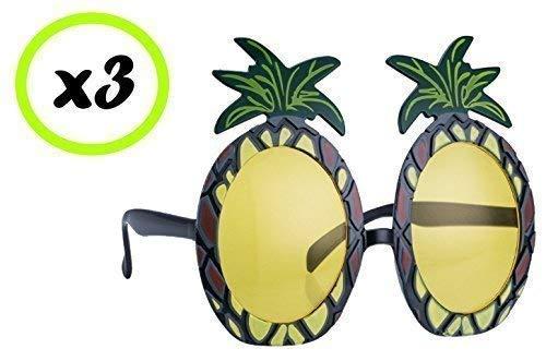 Quickdraw 3 X Hawaii Ananas-Sonnenbrillen Brille Hula Erwachsene Kostüm Zubehör (Ananas Kostüm Für Erwachsene)