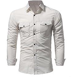 JiaMeng Camisa Bambú Fibra Hombre de Manga Larga, Slim Fit, Camisa Elástica Casual/Formal para Hombre Camisa Casual Masculina del botón del Cuello del Color sólido de la Moda(Beige,XL)