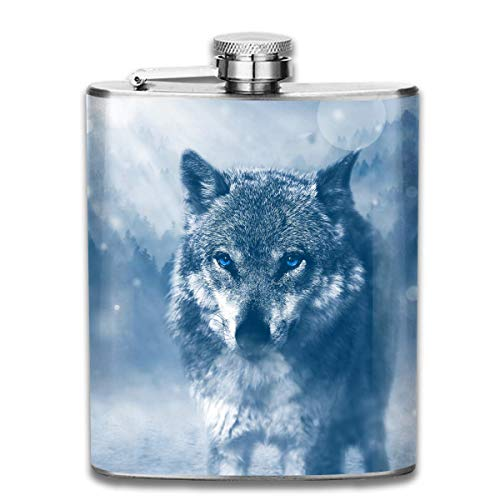 timeless design 5c4cc a4638 Presock Fiaschette,Cool Lone Wolf Fashion Portable Stainless Steel Hip  Flask Whiskey Bottle for Men