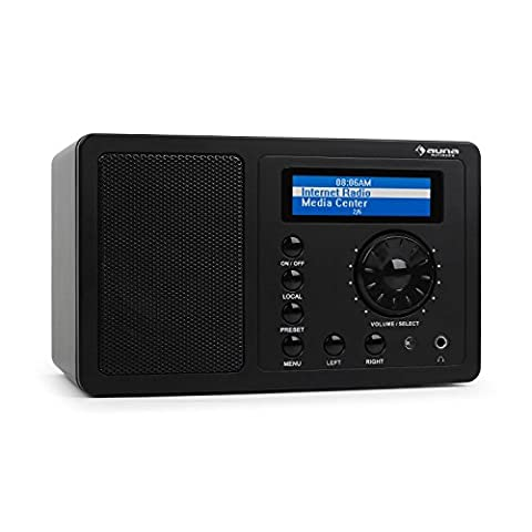 auna • IR-130 BK • Internetradio • Digitalradio • WLAN-Radio • Breitbandlautsprecher • Streamen • über 8000 Internetradio-Stationen • Line-Ausgang • Uhrzeitanzeige • Weckfunktion • Wetteranzeige • Verbindungsspeicher • LCD-Display • Hochglanz-Oberfläche • schwarz