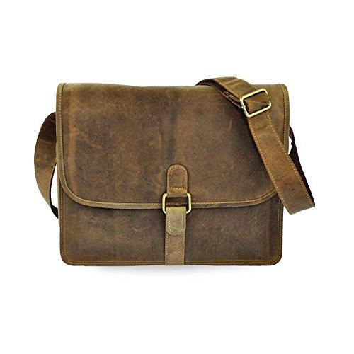 ALWIN CLUB Echtleder Laptop Notebook Umhängetasche mit Notebook-Fach bis 13,5 Zoll 5 Farben Tan Vintage