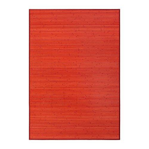 Alfombra de salón o comedor pop roja de bambú de 140 x 200 cm Iris - Lola Derek