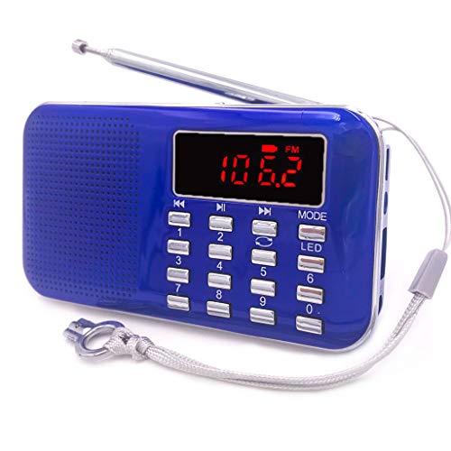iMinker tragbare Mini-Digital-AM / FM-Radio-Mittel-Lautsprecher-MP3-Player-Unterstützungs-TF-Karte / USB-Anschluss mit LED-Screen-Display, Notfall-Taschenlampe, 3,5-mm-Kopfhörerbuchse (Blau) (Am Fm Pocket Mit Lautsprecher Radio)