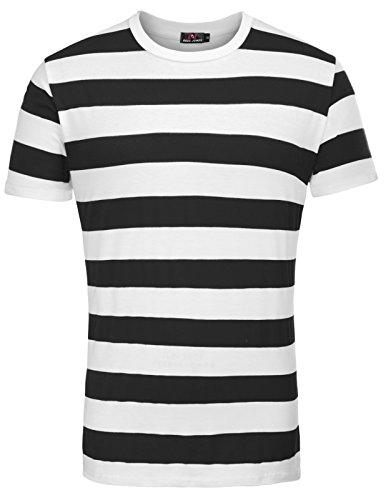 Camiseta Casual para Hombre con Rayas acanaladas para Hombre Talla XL Negro
