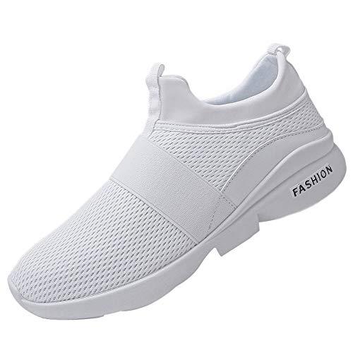 JiaMeng Zapatillas Deporte Hombre Zapatos para Correr Athletic Cordones Air de Moda Beathable Zapatos de Malla Zapatos Casuales sin Cordones(Blanco,EU43=CN44)