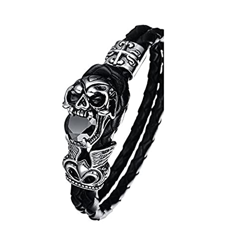 Herren Punk Edelstahl Leder Zirkon Schädel Armbänder 20 cm