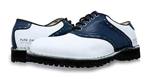 PORTMANN Saddle Classic Spikeless Herren Golfschuhe, hochwertiges Leder, geschweißter Schuh, Extraleicht und Flexibilität, Komfort und Passform, Pure Drive Tec, White Cal.\\ Blue PYTON, 43.5