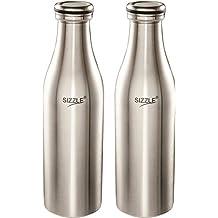 Sizzle Stainless Steel Fridge Water Bottle, 1000 Ml, 2 Pc, Silver