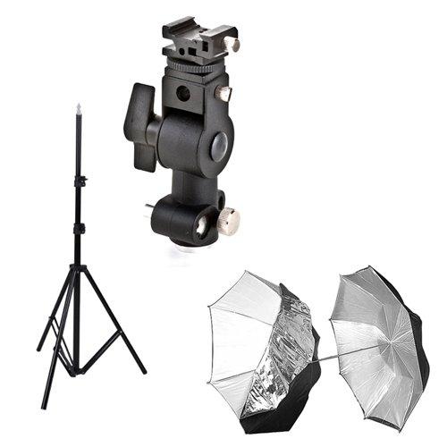 PHOTAREX Blitzhalter + 2in1 Reflexschirm Ø 102mm + Lampenstativ