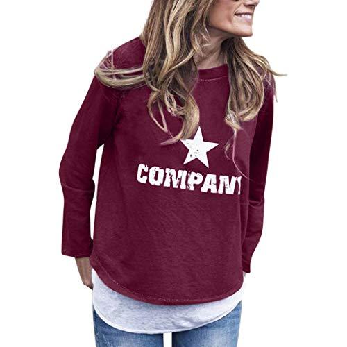 TAMALLU Damen T-Shirt Modische Einfarbig Bedruckte Rundkragen Frauen Tops(Violett,M)